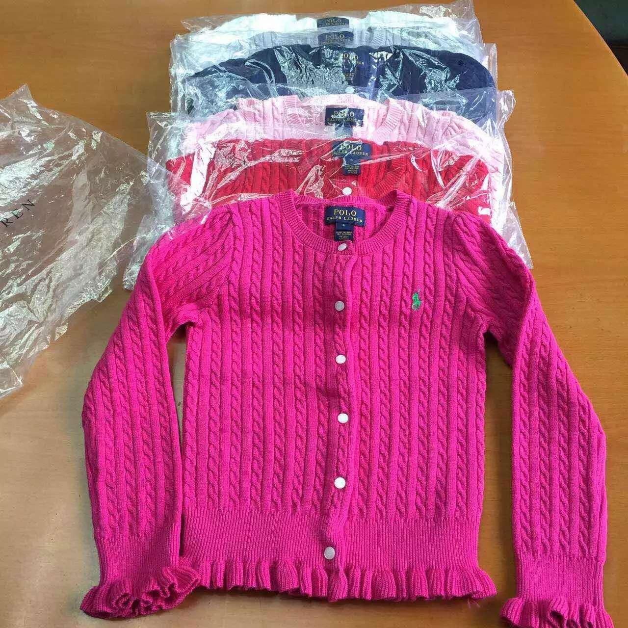 Внешней торговли оригинальных славянских детей детей RL поло дома Раффлед хлопок джемпер свитер пальто 7Т