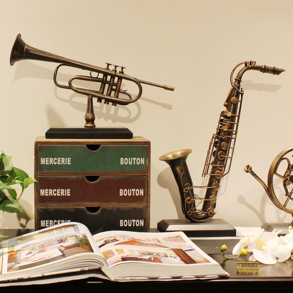 Jazz musical instrument retro decoration iron music home soft decoration Sax horn coffee shop living room decoration