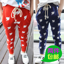 The 2-5-7 - year - old girl autumn season children with blue and orange printed cotton leisure sports pants pants and feet