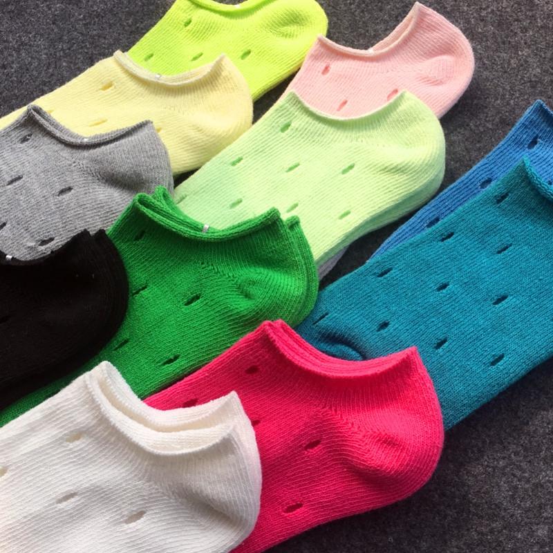 (用10.2元券)洞洞袜子女短袜韩版夏季浅口薄款糖果色隐形船袜镂空透气棉袜男袜