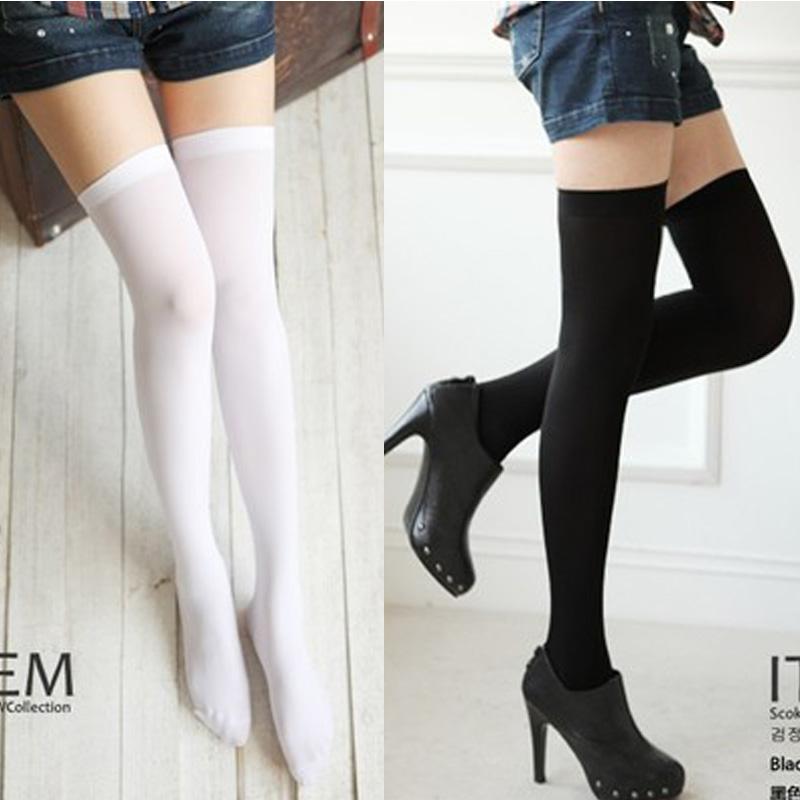 【夜色行】长筒袜子性感天鹅绒大腿袜 过膝甜美80D高筒袜 打底袜