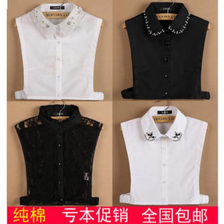 LRXN корея дикий хлопок поддельные воротник женщина рубашка кружево поддельные воротник сын литература и искусство черно-белое рубашка рубашка воротник