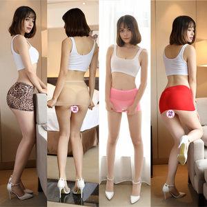 包邮 多色可选透明冰丝超短裙迷你裙性感超滑高弹她秘紧身裙