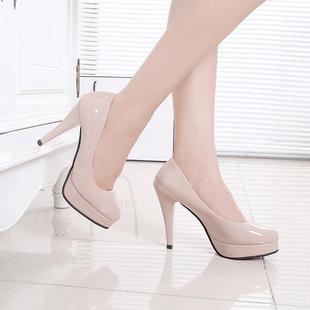 春秋季圓頭鞋新款女鞋工作鞋防水台白色皮鞋高跟鞋細跟10cm單鞋潮