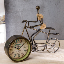 Retro iron art countertop clock European creative hemp rope clock pendulum living room clock desktop bicycle antique clock