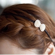 Know NI the Korean version of imitation Pearl rhinestone Butterfly hair ACC sweet loving hoops headband hairpin