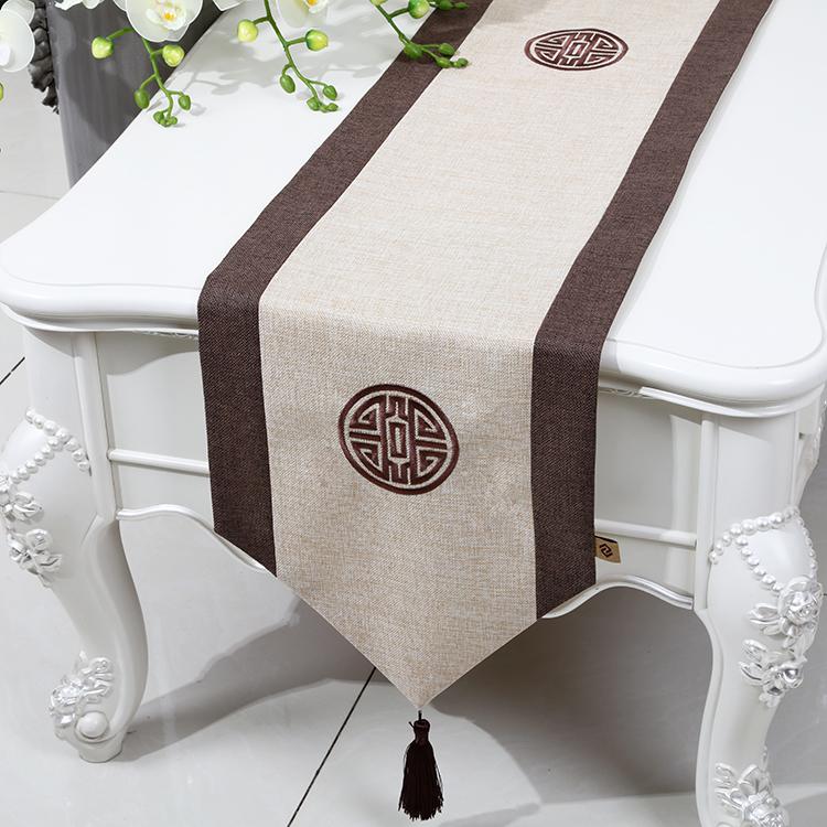艺必旭桌旗新中式现代简约风格古典复古古典茶几布艺刺绣麻桌旗