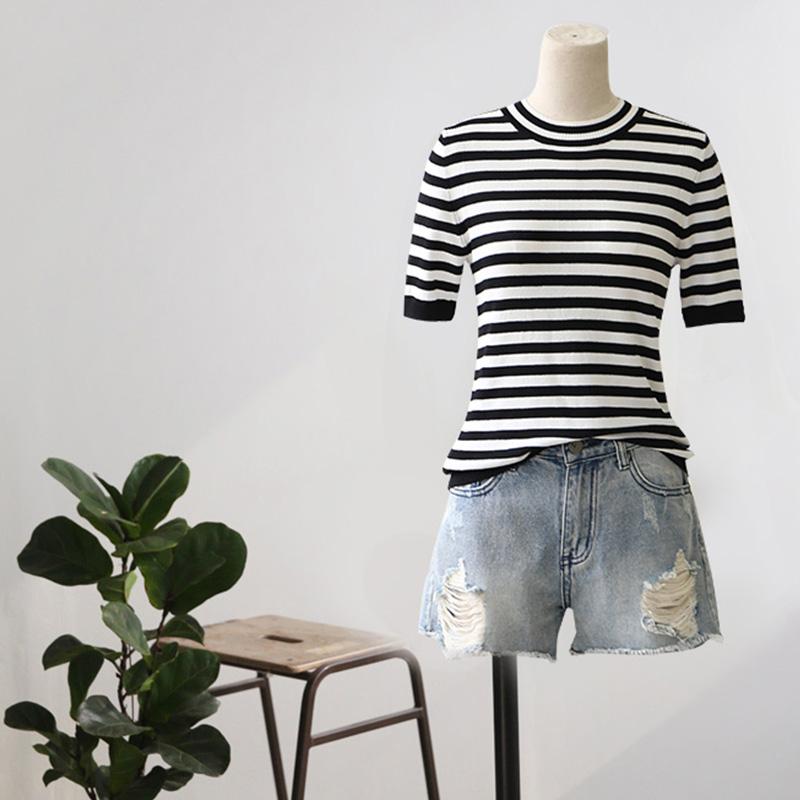 百搭条纹t恤女薄款夏季宽松显瘦针织衫女装休闲短款上衣体恤衫潮