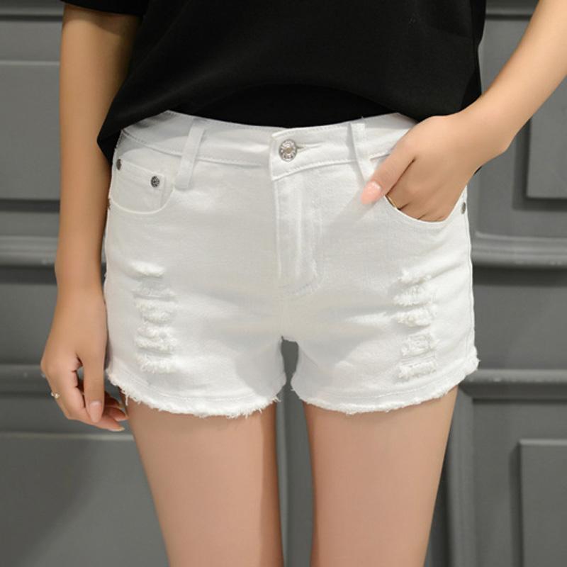 Лето студент белый эластичность отверстие ковбой шорты женщина заусенец большой двор корейская волна свободный тонкий широкий нога горячей брюки