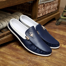 Summer English leather sandals slippers men half dragged in baotou doug shoes city boy lazy youth tide shoes in summer