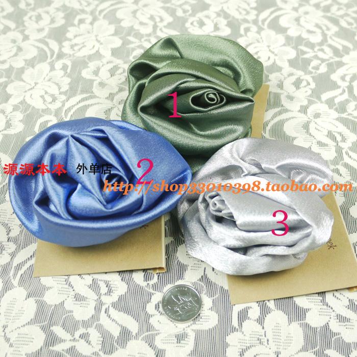 出口欧美外贸原单饰品 蓝绿银纯色亮面尼龙大花朵 别针胸花胸针