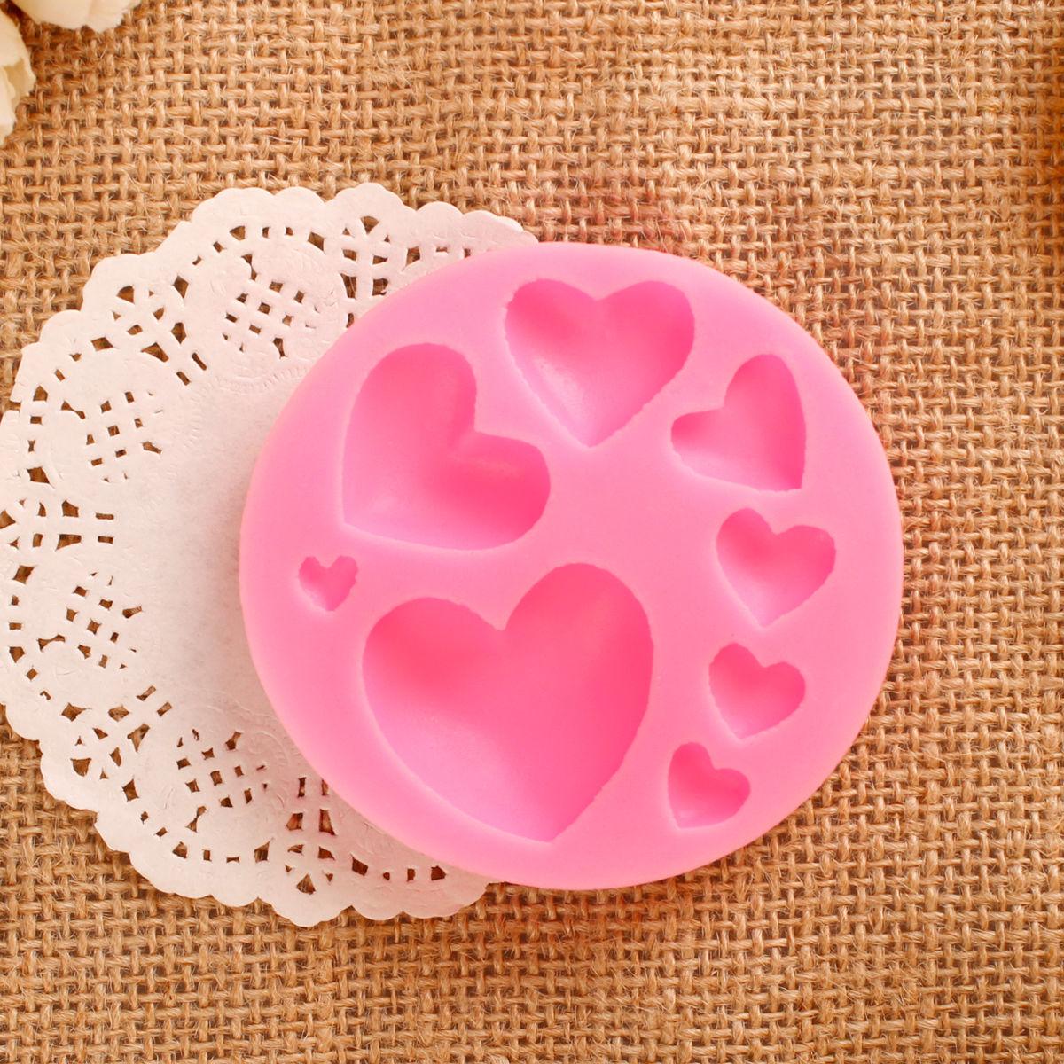 Выпечки формы 8 даже любить форме сердца силиконовые помадной торт плесень ручной шоколад глины плесени силиконовые