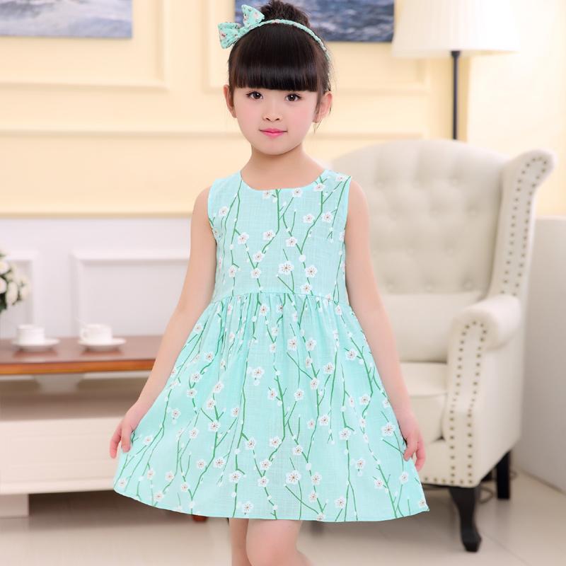 Ребятишки 2017 летний костюм новая девушка ребенок свежий короткий рукав платье женщина лето хлопок ребенок платье принцессы юбка