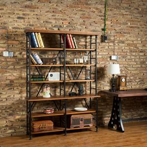 美式乡村复古铁艺置物架 实木书架 做旧陈列架 展示架隔板工业风