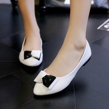 2015 single flat shoes women summer and the round head sweet bowknot doug shoes lighter boat floating lazy work shoes