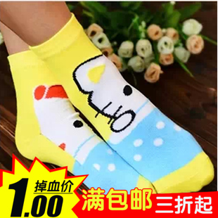 New cute cartoon puzzle socks AB face right right in tube socks Children socks wholesale 24 color into