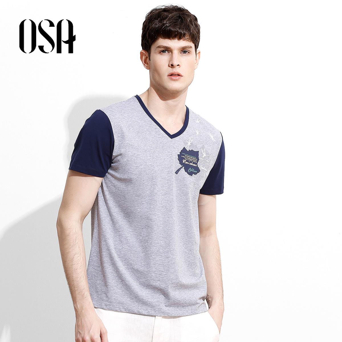 OSA欧莎2018夏装新款男装时尚休闲撞色V领休闲绣花短袖T恤上衣