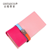Gu Ti based Asian female 2015 new leather clutch bag purse leather contrast color wallet long mixed colors
