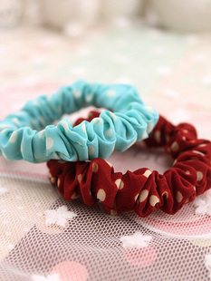 Polka Dot Cotton small flower hair ring hair rope hair jewelry 6 color options 0343