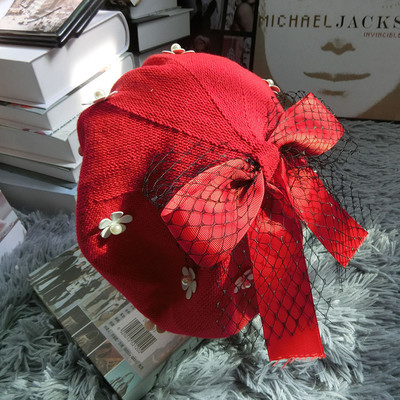 Japan and Korea Xiaoxiang fresh and sweet net bow knitting Beret octagonal bud hat in autumn and winter of 2019