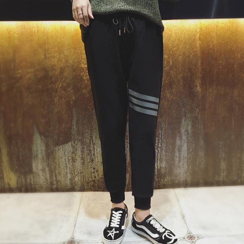 褲女九分褲 秋女褲寬鬆 褲顯瘦小腳哈倫褲 黑色收腳褲子女