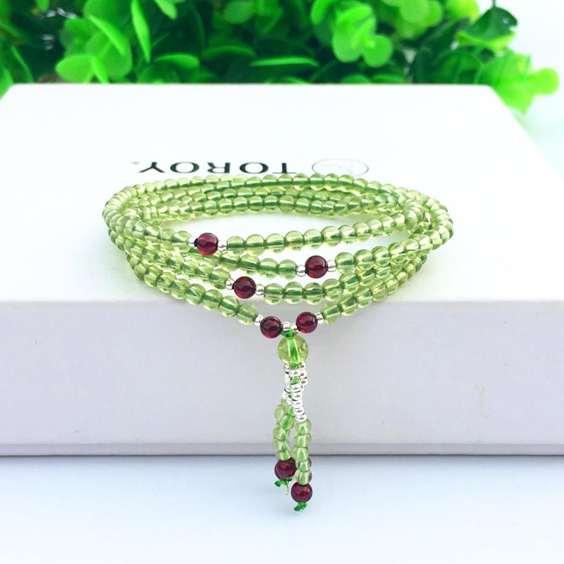 Jewelry natural olivine Bracelet 4 circles 3.5mm fresh green female Bracelet birthday gift Bracelet