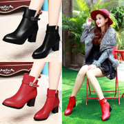 Shield Fox female rough heels shoes dark pointy side zipper leather shoes and wool in England the 2015 winter new tide