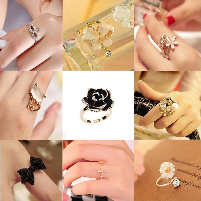 韩版小饰品发批简约花朵食指戒指 创意潮人开口指环 女款礼物包邮