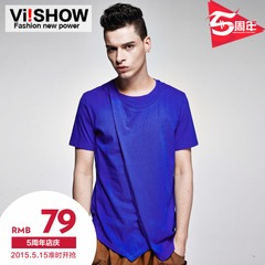 Viishow 2015 men's new style men solid color short sleeve t shirt cotton summer t casual men's t shirt