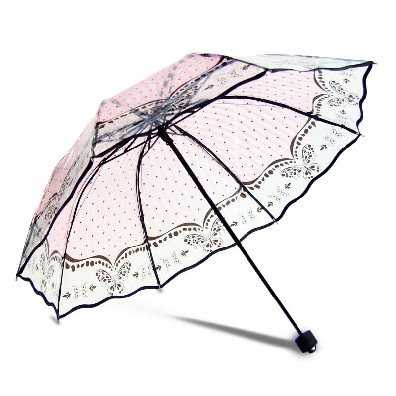 聪晟加厚透明雨伞 超轻透明伞 男女生创意折叠伞韩国小清新公主伞