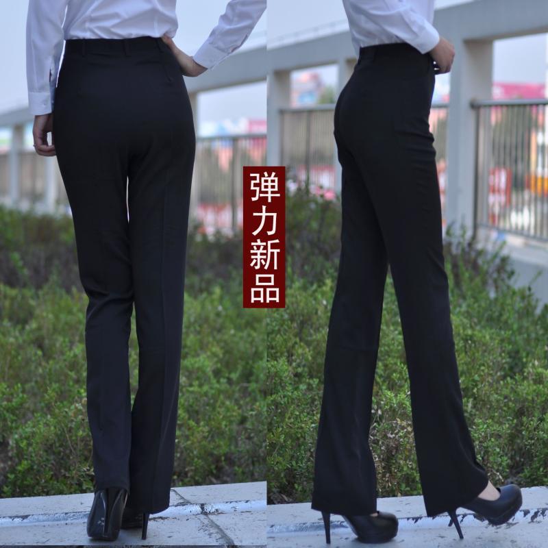 西裤夏款女装黑色职业女裤子正装加肥大码弹力直筒加长裤工服春秋