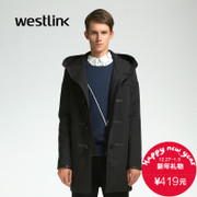 Westlink/West New 2015 winter hooded coat men's coat zipper around wallet Horn button coat