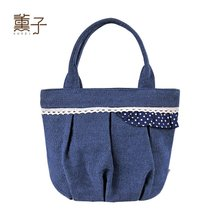 Kaori son original manual cloth art is small and light lovely lace canvas leisure portable hand bag 04086