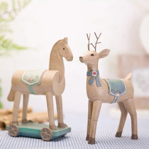 贝汉美 美式田园装饰品树脂工艺品创意摆设 彼得潘客小马厅桌摆件