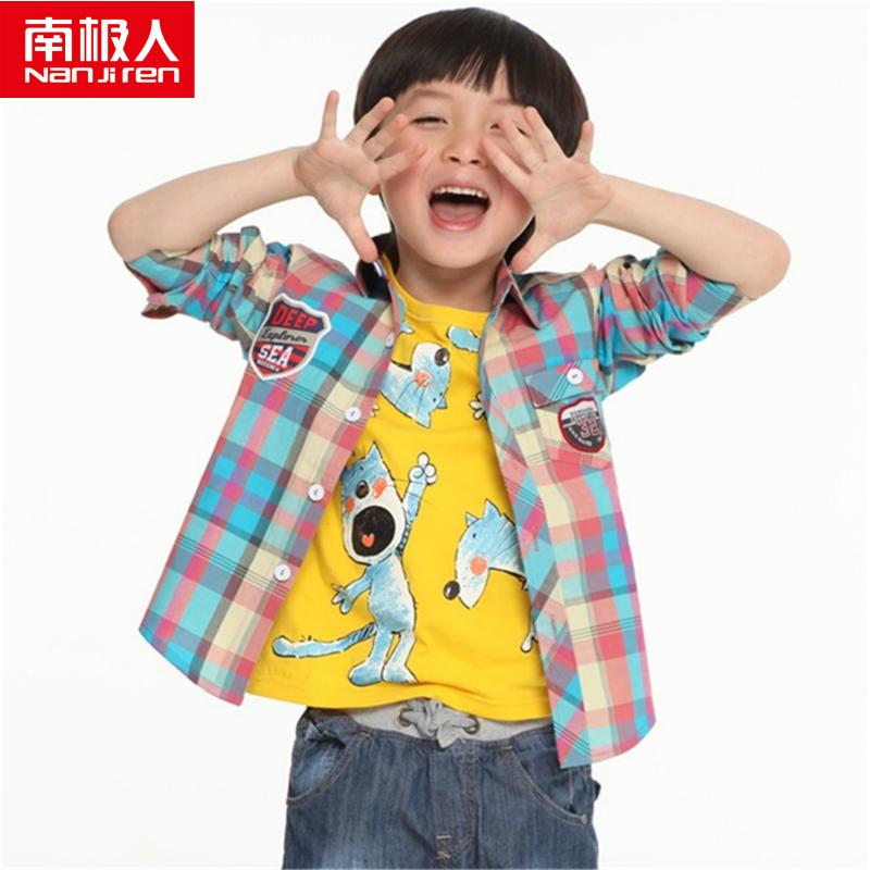 南极人男童长袖衬衫春秋装2017儿童衬衫纯棉女童格子衬衣中大童装