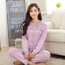 New pajamas more women in the spring and autumn winter long sleeve cardigan han edition button cotton top-grade leisure wear suits