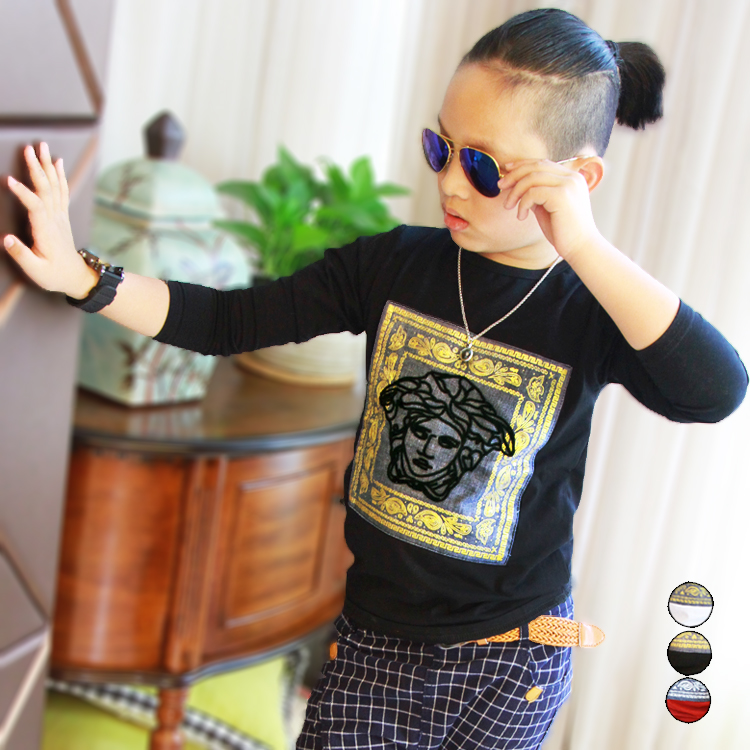 Nanalala Детская одежда мальчика Новая весна одежда с длинным рукавом Футболка бум ребенка Хан золоченый стекались top 821 от Kupinatao