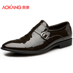 Aucom New England classic business dress shoes men trend lines of men's pointy patent leather shoes