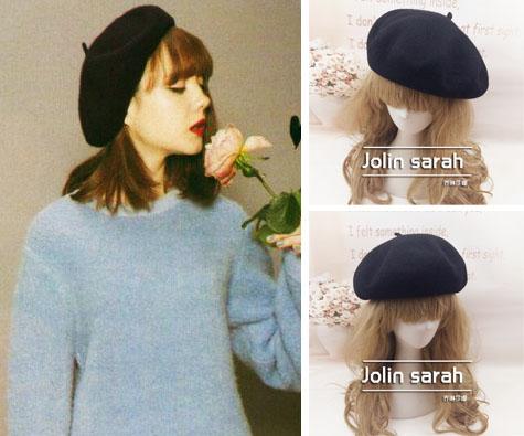 日本帽子 VIVI杂志玲奈同款 百搭黑色加厚纯羊毛贝雷帽画家帽子