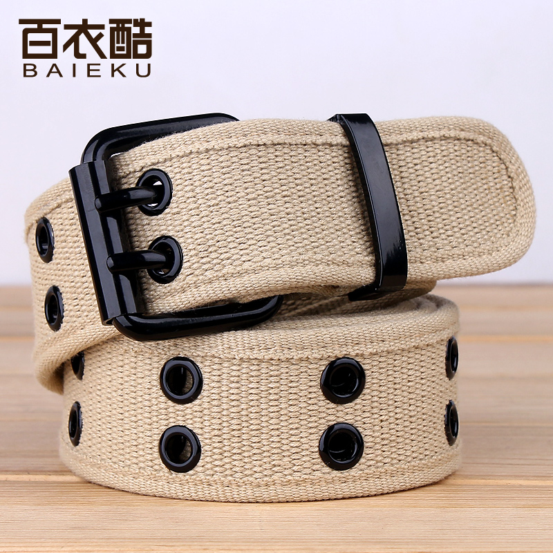 New mens and womens canvas belt widened double row pin buckle lovers belt mens versatile womens Jeans Belt