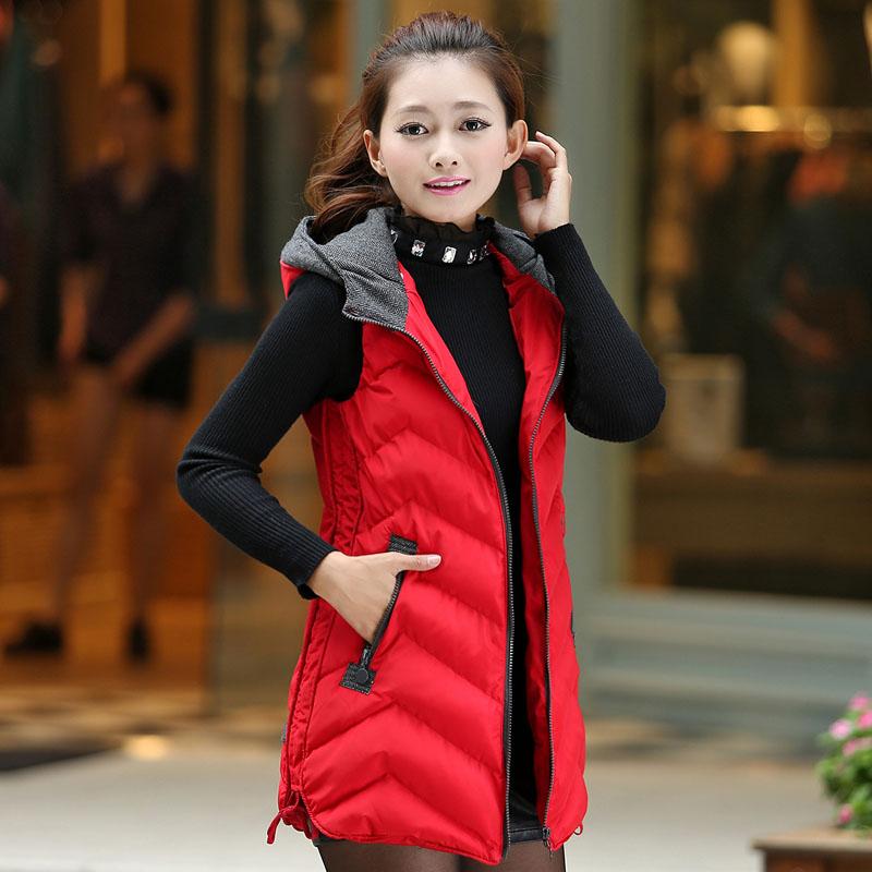 Осень/зима жилет женщины в корейской версии долго с капюшоном Жилет рукавов пальто мягкий плюс размер дамы тонкий хлопка жилет