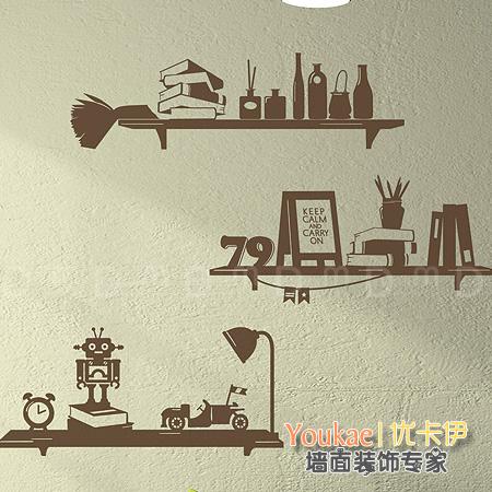 機器人科技 書房 混搭裝飾牆麵貼紙 日曆書架台燈壁紙牆貼