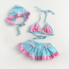 The new baby girls swimsuit children fission bikini bathing suit children swimwear baby bathing suit with caps