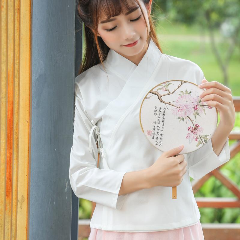 Весна новый ветер женщины куртка твердый краткое модель длинный рукав ретро китайский стиль китайский одежда шифон рубашка свитер