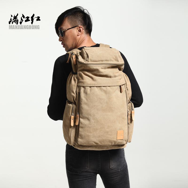 新款大容量登山包韩版双肩包帆布旅行包学生书包男士背包休闲大包