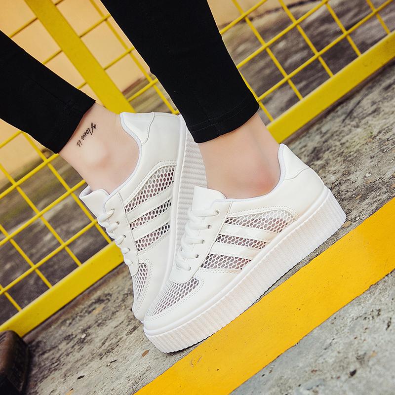 2018夏季透气网鞋新款百搭韩版学生小白鞋女白色厚底板鞋休闲女鞋