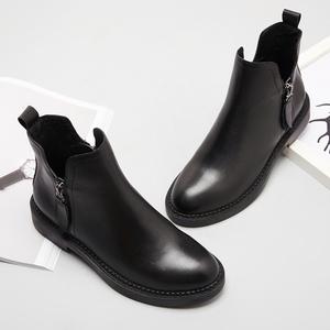 秋冬新款双拉链马丁靴真皮圆头低跟平底短靴及裸靴欧美机车女靴子