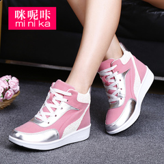 MI Ka fall 2015 the Korean version flows increased women's casual high-top sneakers women invisible thick soled shoes