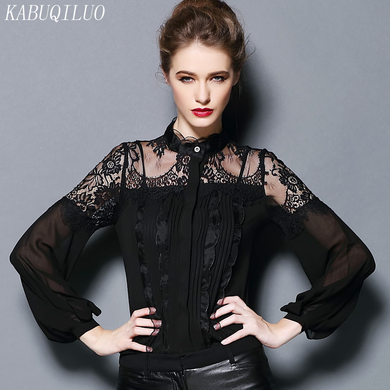 Autumn 2017 new slim fit large stand collar lace one-piece shirt versatile slim fit top bottomed shirt women
