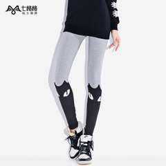 Seven space space OTHERMIX2015 spring new feline logo contrast color stitching wearing footless tights